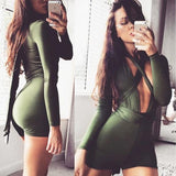Amry Green Sashes Deep V-neck High Waisted Slim multi way Short Jumpsuit