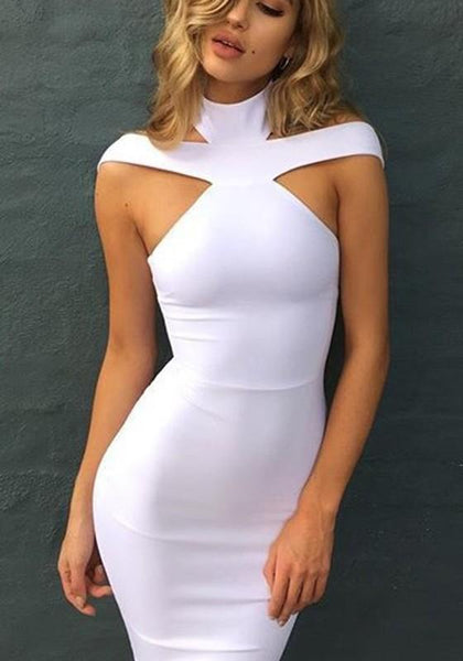 White Plain Cut Out Zipper Backless Fashion Midi Dress