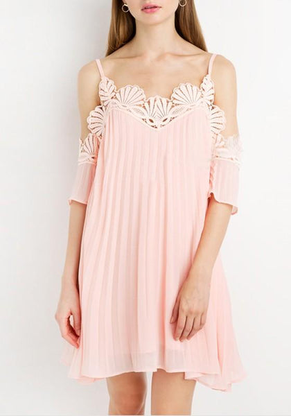 Light Pink Patchwork Lace Spaghetti Strap Draped Mini Dress