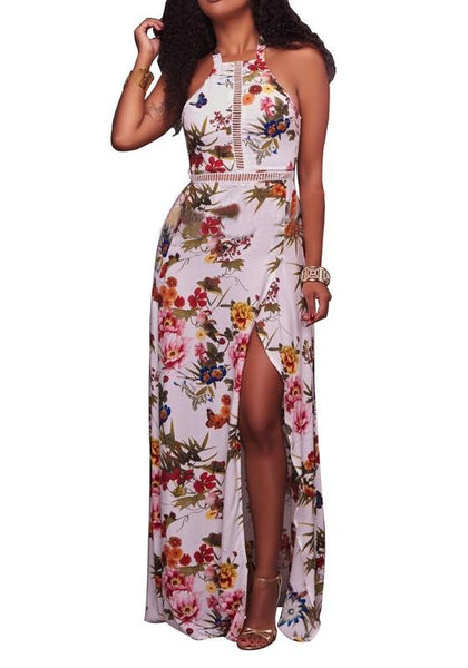 Black Floral Print Tie Back Buttons Cut Out Side Slit Fashion Maxi Dress