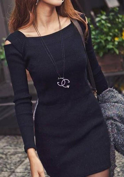 Black Cut Out Square Neck Long Sleeve Mini Dress