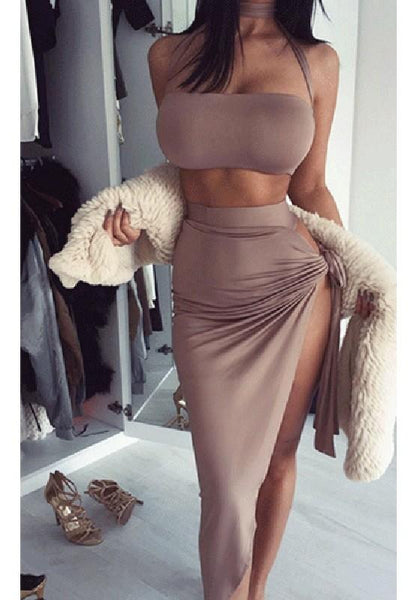 Brown Backless Tie Back Slit Multi Way High Waisted Party Maxi Dress