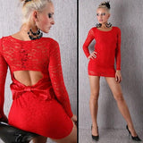 Red Floral Hollow-out Lace Bow Cut Out Mini Dress