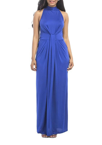 Sapphire Blue Halter Neck Off-Shoulder Prom Evening Party Maxi Dress
