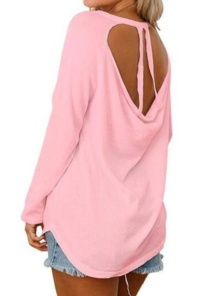 Pink Cut Out Long Sleeve T-Shirt