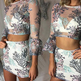 White Floral 2 Piece Zipper Grenadine Embroidery 3/4 Sleeve See-through Crop Mini Dress