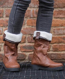 Women's Shoes Chunky Heel Fur Lined Boots Brown Round Toe Flat Patchwork Fashion Ankle Boots