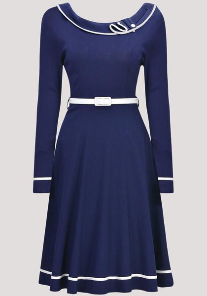 Navy Blue Pleated Buttons Office Worker/Daily Sweet Midi Dress