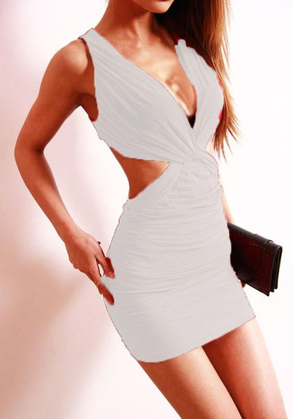 White Plain Cut Out Plunging Neckline Polyester Mini Dress