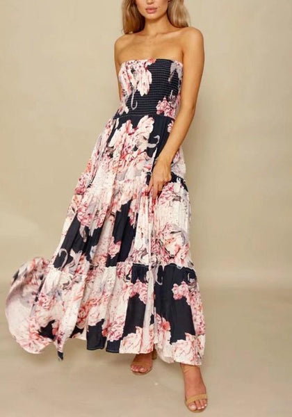 Multicolor Bohemian Floral Draped Off Shoulder Backless Ruffle Beach Party Maxi Dress