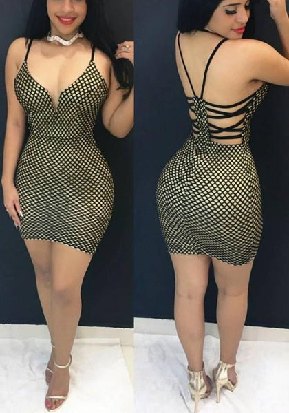 Green Plaid Cross Back Backless Spaghetti Strap Deep V-neck Club Mini Dress