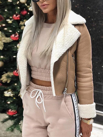 Khaki Zipper Long Sleeve Casual Sweet Going out Coat