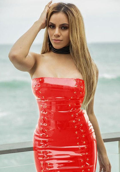 Red Bandeau PU Leather Off Shoulder Backless Vinyl Latex Clubwear Party Mini Dress