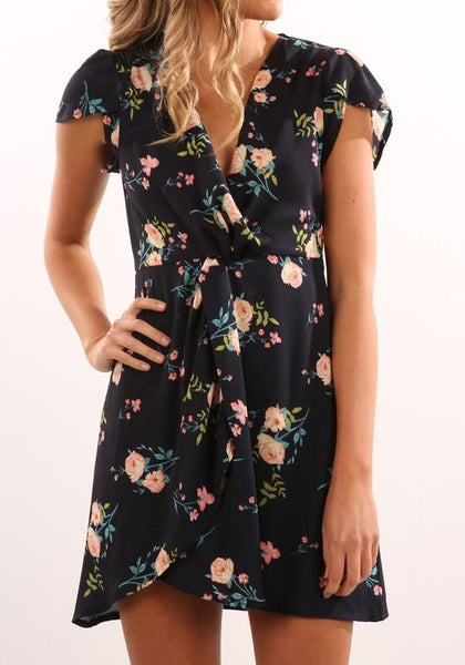Black Flowers Irregular Deep V-neck Short Sleeve Mini Dress