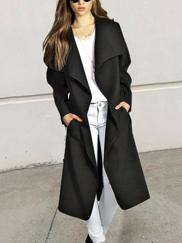 Black Pockets Sashes Turndown Collar Long Sleeve Elegant Coat