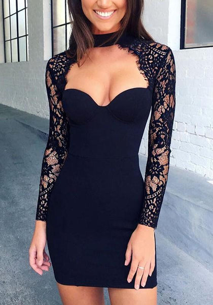 Black Patchwork Lace Collarless Polyester Mini Dress