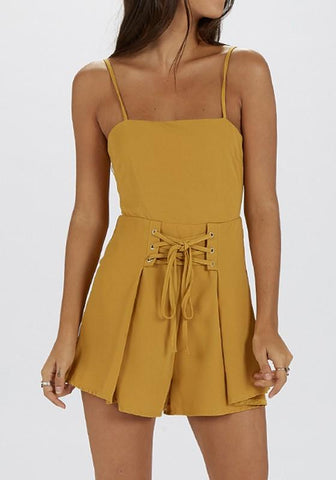Yellow Tie Back Spaghetti Strap Pleated High Waisted Short Jumpsuit