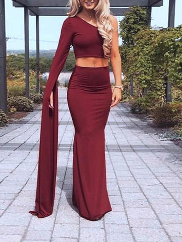 New Wine Red 2-in-1 Irregular Draped Long Sleeve Elegant Maxi Dress