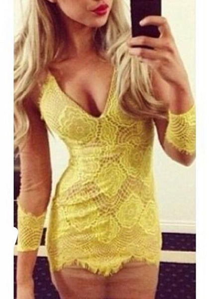 Yellow Patchwork Grenadine Lace Plunging Neckline Mini Dress