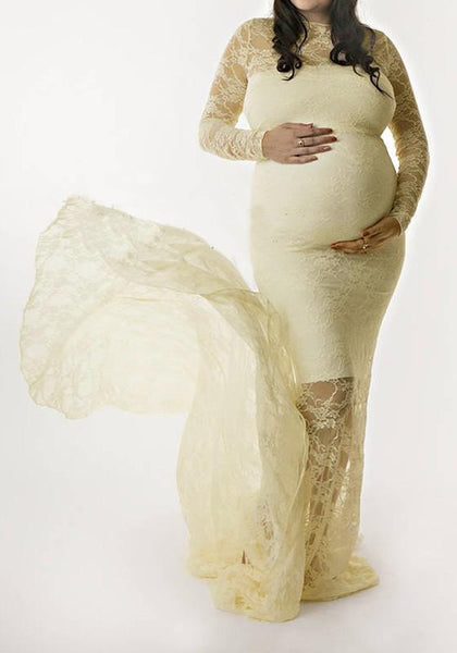 Apricot Floral Lace Stylish Baby Shower Mermaid Maternity Maxi Dress For Photoshoot
