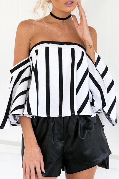 B&W Striped Printing Patchwork Top