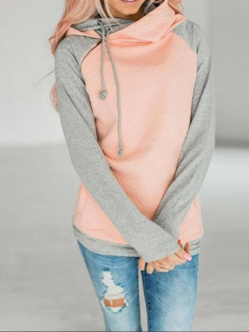 Pink Contrast Cotton Zip Front Long Sleeve Fleece Hoodie
