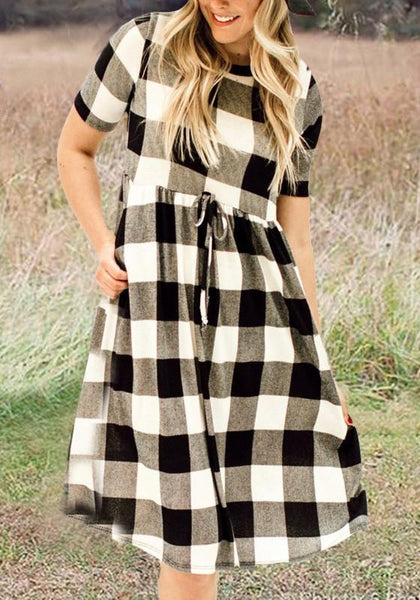 White-Black Plaid Pattern Sashes Draped High Waisted A-line Casual Midi Dress
