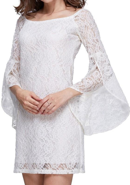 White Floral Lace Hollow-out Flare Sleeve 3/4 Sleeve Boat Neck Mini Dress