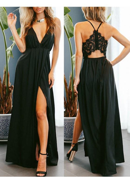 Black Lace Slit Spaghetti Strap Backless Flowy Deep V-neck Elegant Party Maxi Dress