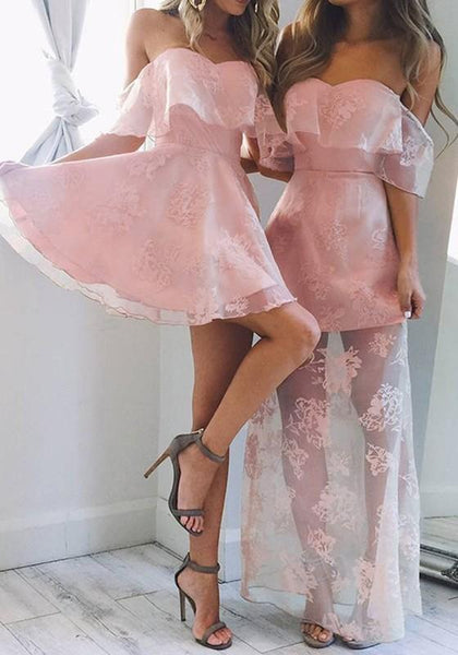 Pink Patchwork Lace Ruffle Zipper Off Shoulder Backless Mini Dress