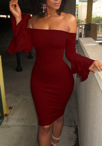 Burgundy Ruffle Off Shoulder Long Sleeve Bodycon Midi Dress