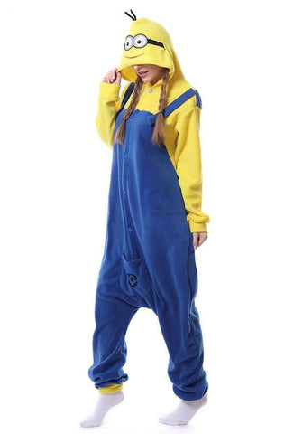 Yellow-Blue Cartoon Minions Pockets Hooded Cute One Piece Pajamas Long Jumpsuit