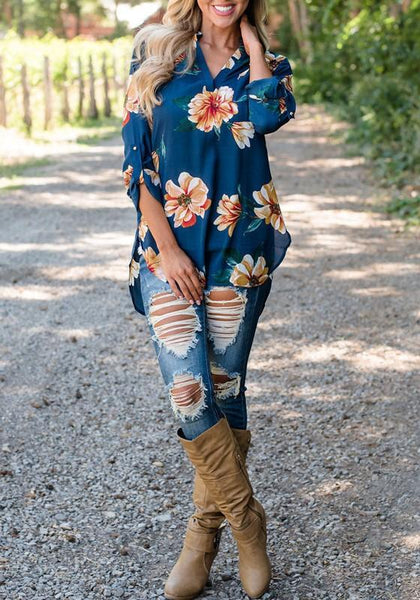Sapphire Blue Floral V-neck Long Sleeve Casual Blouse