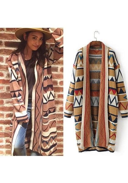 Khaki Geometric Thick Oversized Fashion Cardigan Sweater