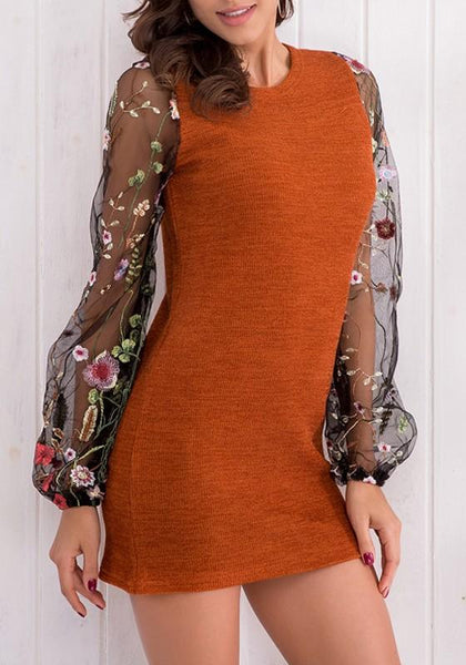 Orange Patchwork Embroidery Round Neck Long Sleeve Mini Dress