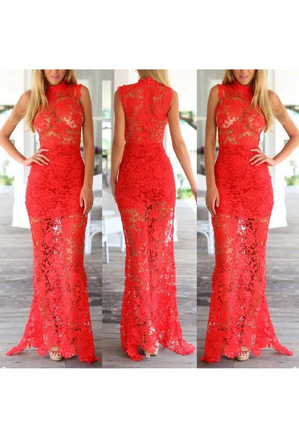 Red Patchwork Lace Hollow-out Zipper High Neck Maxi Dress