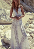 White Lace Draped Halter Neck Backless Deep V-neck Bohemian Beach Maxi Dress