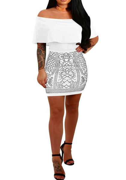 White Geometric Rhinestone Ruffle Off Shoulder Bodycon Club Mini Dress