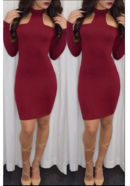 Plain Cut Out Round Neck Mini Dress