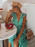 Summer Polka Dot Boho Ruffles Bohemian Beach Midi Dress