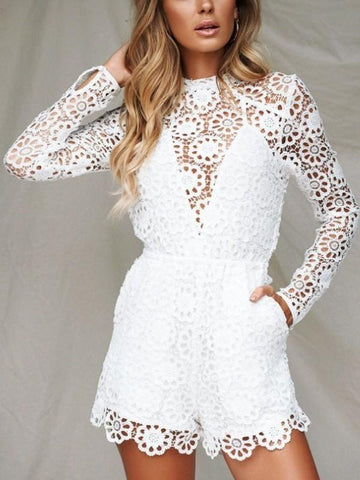 2d2fc2a4a85 New White Mosaic Lace Zipper Long Sleeve High Waisted Fashion Short Jumpsuit