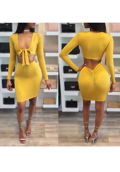 Yellow Pleated Deep V High Waisted Two Piece Bodycon Club Mini Dress