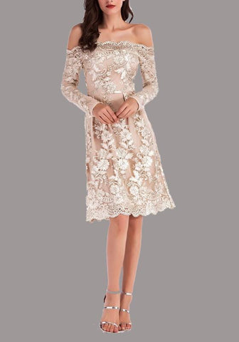 Apricot Embroidery Lace Off Shoulder Backless Bodycon Elegant Party Midi Dress