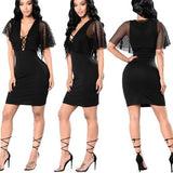Black Patchwork Hollow-out Grenadine Plunging Neckline Mini Dress