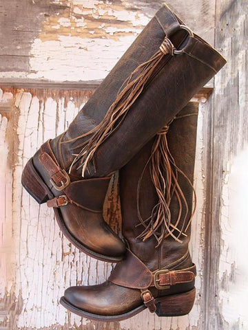 New Brown Round Toe Fashion Mid-Calf Boots