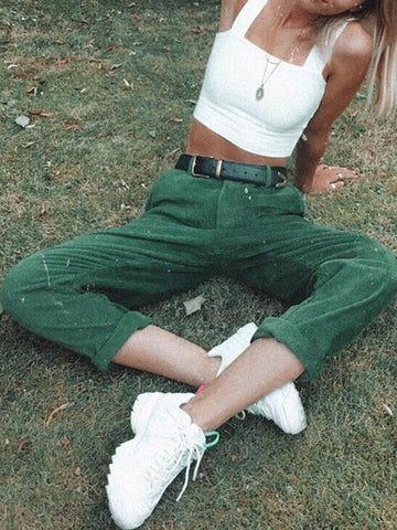 New Green Corduroy Pockets Buttons High Waisted Casual Pant