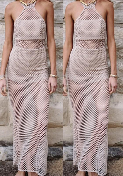 Nude Hollow-out Zipper Halter Neck Backless See-through Maxi Dress