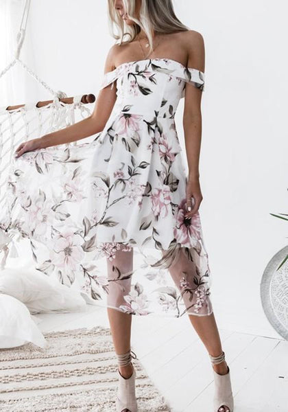 Pink Floral Print Double-deck Zipper Boat Neck Sweet Midi Dress