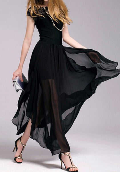 Black Patchwork Lace Hollow-out Grenadine See-through Round Neck Maxi Dress