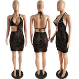 Golden-Black Plaid Floral Pattern Grenadine Cut Out Irregular Backless Clubwear Party Mini Dress